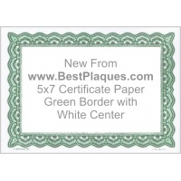5 x 7 Certificate Paper - Green with White Center 100 Sheets per Pack