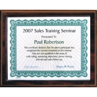 10.5X13 Walnut Style Plaque Best Value Slide In Holds 8.5X11 Certificate Assembled