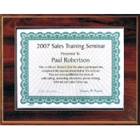 7X9 Walnut Style Plaque Best Value Slide In Holds 5x7 Certificate Assembled
