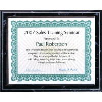 10.5X13  Black Marble Style Plaque Best Value Slide In Holds 8.5X11 Certificate Assembled