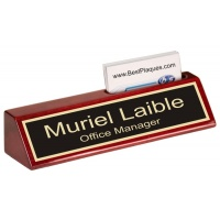 """8"""" Rosewood Piano Finish Nameplate with Business Card Holder"""