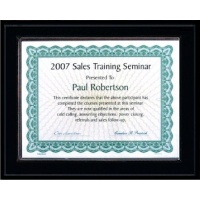 7X9 Matte Black Style Plaque Best Value Slide In Holds 5x7 Certificate Assembled