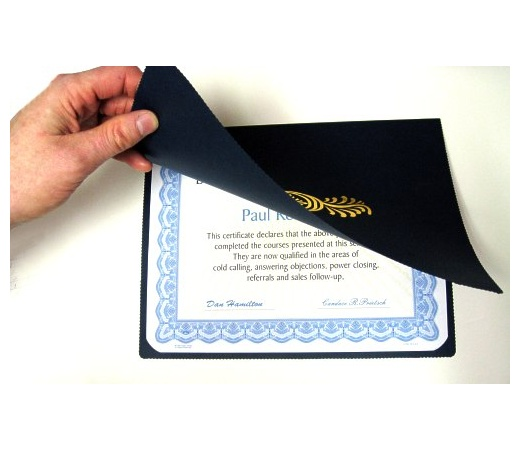 8.5 x 11 Certificate Folders - Black - Quality Thick Linen Stock Holds 8.5 x 11 Certificate