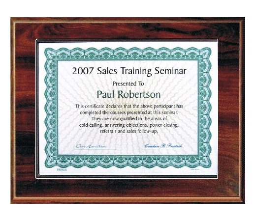 5X7 Best Value Slide In Plaque Kits Walnut Style - 7X9 Plaque holds a 5x7 Certificate
