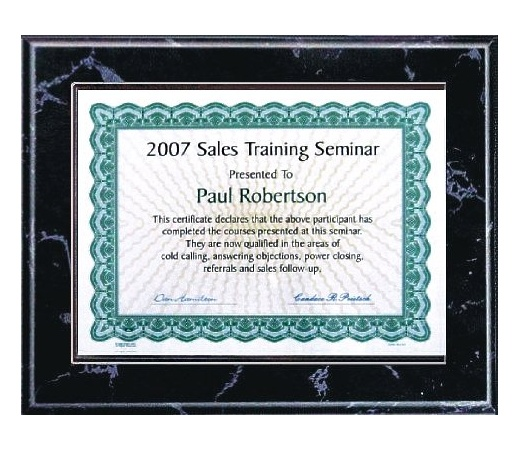 5X7 Best Value Slide In Plaque Kits Black Marble Style - 7X9 Plaque holds a 5x7 Certificate