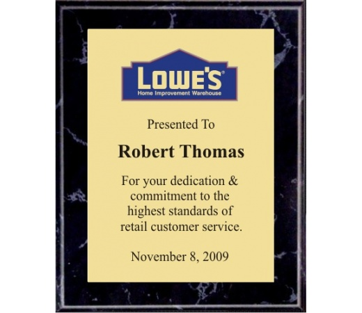 7x9 Logo Plaques - Gold Plate - Black Marble Color Plaque. #BPXR7