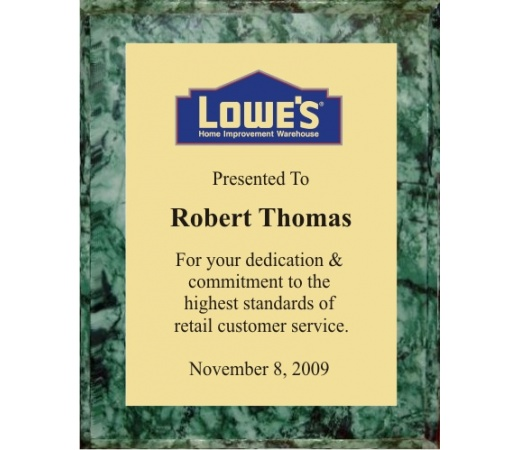 10.5X13 Logo Plaques - Gold Plate - Green Marble Color Plaque. #BPXR10
