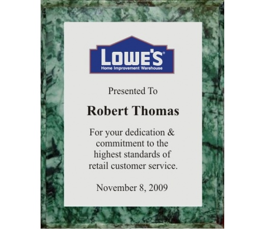 10.5X13 Logo Plaques - Silver Plate - Green Marble Style Color Plaque. #BPXR10