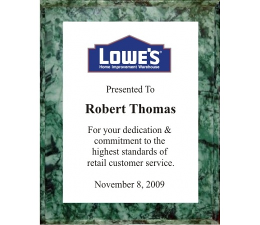 10.5X13 Logo Plaques - White Plate - Green Marble Style Color Plaque. #BPXR10