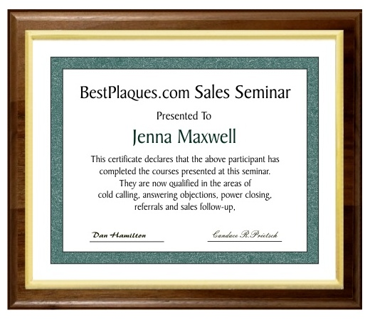 8.5x11 Certificate Plaques Slide In Genuine Walnut Style - 10.5x13 Plaques